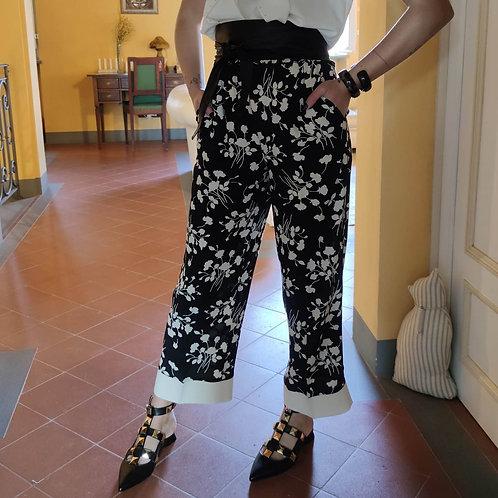 TwinSet - Pantalone fantasia bianco e nero