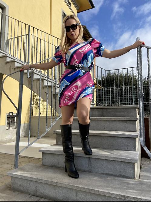 Vicolo - Abito fantasia blu e rosa