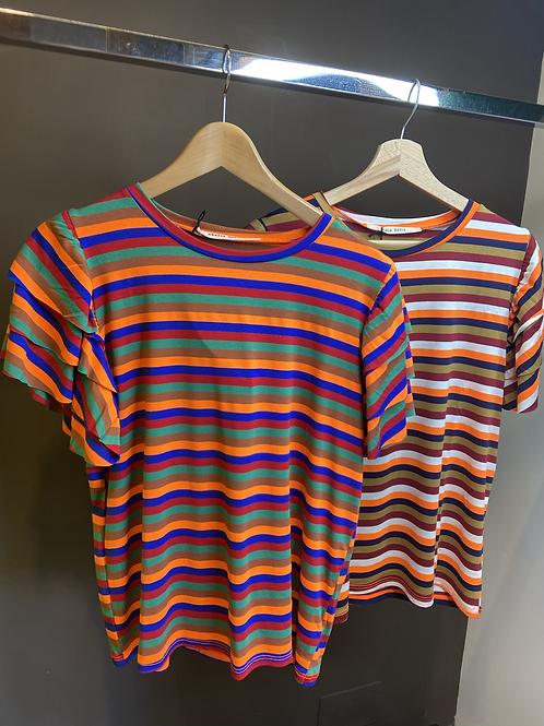 Angela Davis - T-shirt con galette multicolor righe