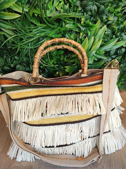 Carol P - Borsa artigianale in rafia con manico bamboo