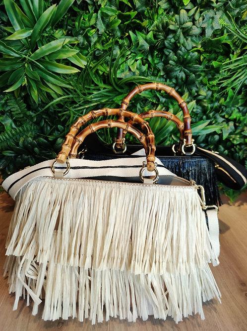 Carol P - Borsa artigianale in rafia manico bamboo