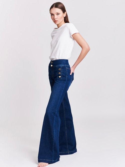 Vicolo - Jeans wide leg con bottoni