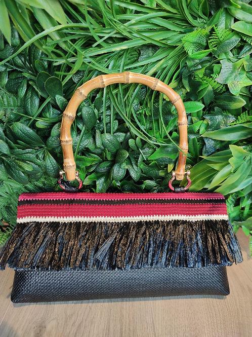 Carol P - Baguette artigianale in rafia e manico di bamboo
