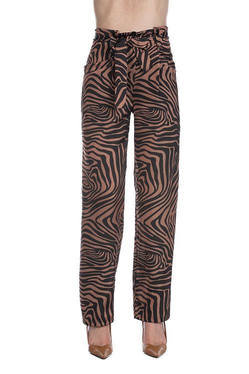 Relish - Pantalone fantasia animalier con cintura