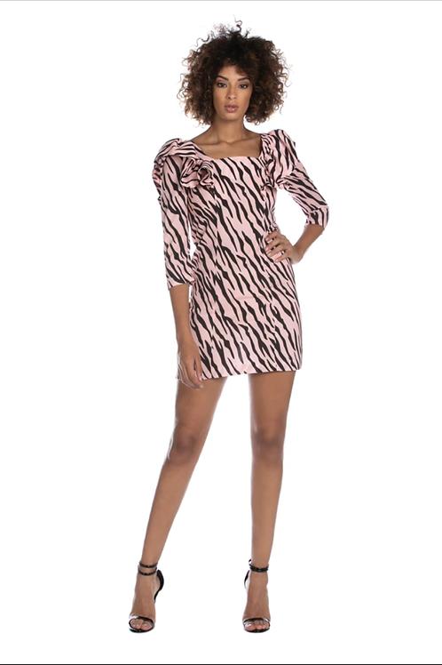 Relish - Abito corto fantasia zebrata rosa e nera