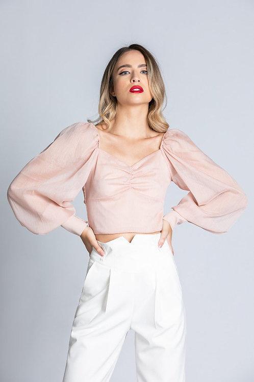 Relish - Blusa manica lunga palloncino in lurex