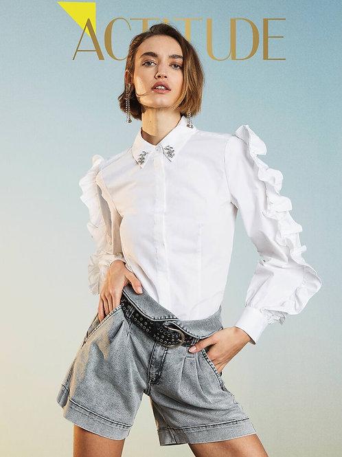 """TwinSet - Camicia """"Sabik"""" in popeline con ricami e volant"""