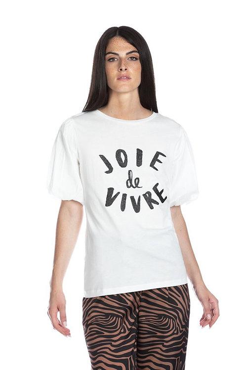 Relish - T-shirt manica a palloncino con stampa glitter
