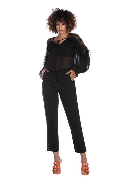 Relish - Pantalone con coulisse e banda con pailettes