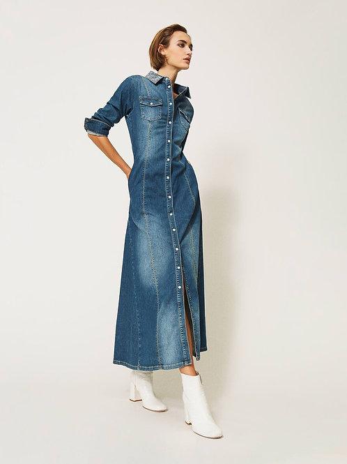 TwinSet - Abito lungo in jeans con borchie