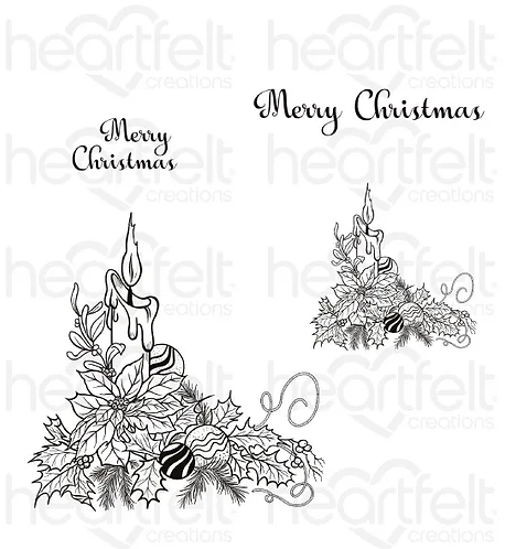 Candlelit Poinsettia Cling Stamp Set