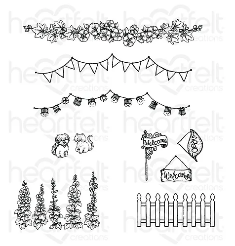 Happy Camper Collection - Elements of Home Cling Stamp Set