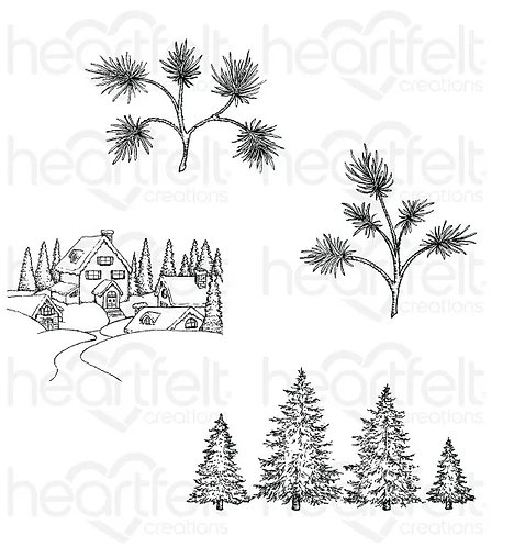 Snowy Pine Village Cling Stamp Set