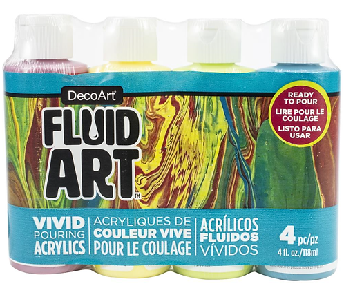 FluidArt Paint Pouring Value Pack 4/Pkg - Tropical