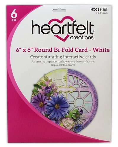"Heartfelt - 6"" x 6"" Round Bi-Fold Card - White"