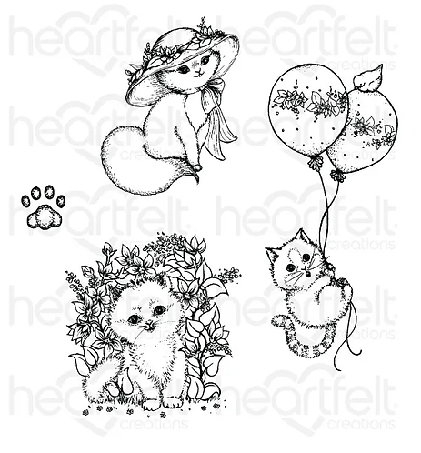 Purr-fect Posies Collection - Playful Miss Kitty Cling Stamp Set