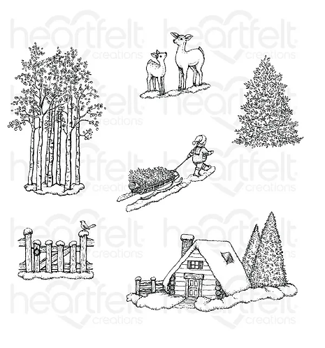 Festive Winterscapes Collection - Woodsy Winterscapes Cling Stamp Set