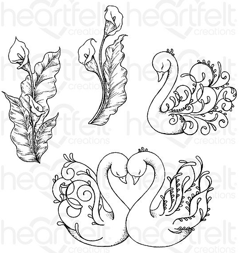 Calla Lily Collection - Feathery Swan Cling Stamp Set