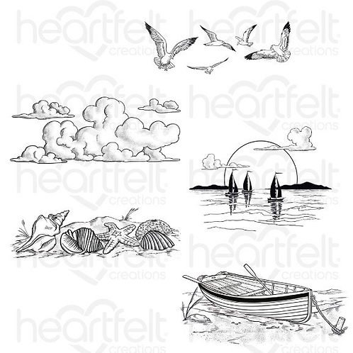 Sea Breeze Collection - Sand and Sunsets Cling Stamp Set