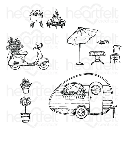 Happy Camper Collection - My Happy Place Cling Stamp Set