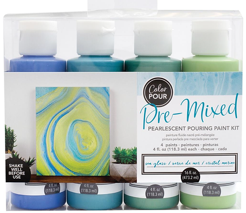 POURING PAINT KIT -  SEA GLASS PEARLESCENT