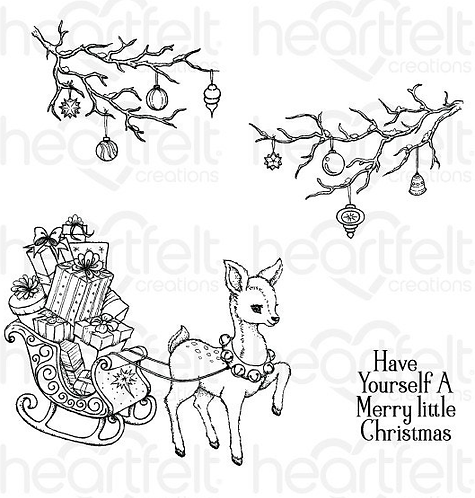 Merry Little Christmas Cling Stamp Set