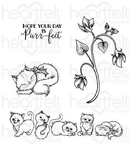 Purr-fect Posies Collection - Purring and Playful Cling Stamp Set