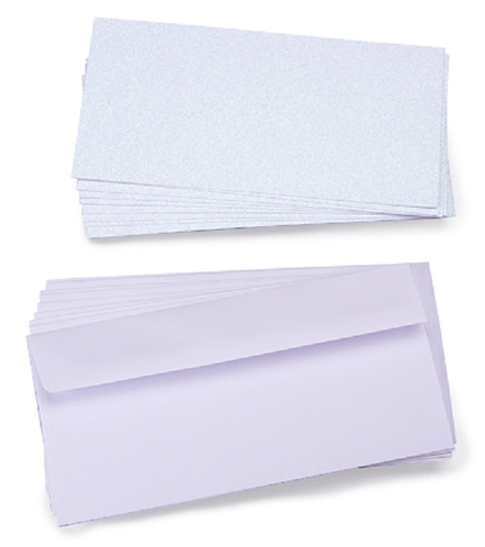 Core'dinations® Glitter Prints Photo Cards/Envelopes - White - 4 x 8 inches - 10