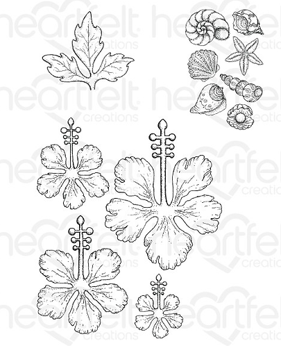 Under the Sea Collection - Tropical Hibiscus Cling Stamps