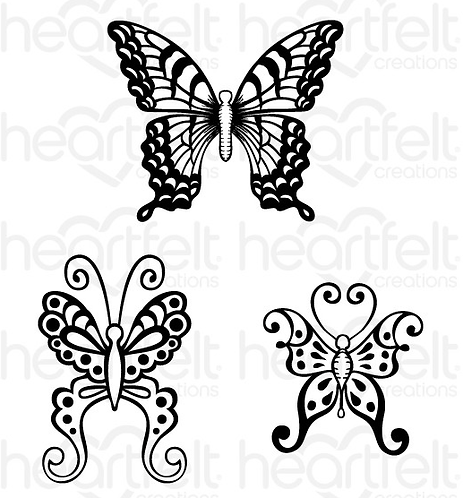 Butterfly Medley Collection - Botanical Wings Cling Stamp Set