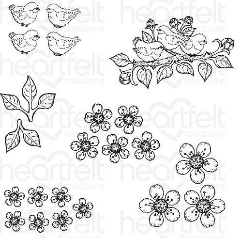 Tweet Cherry Blossoms Cling Stamp Set