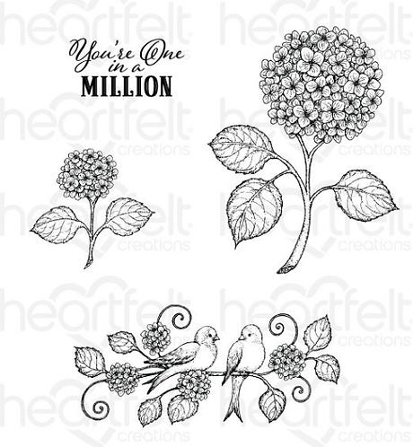 Cottage Garden Collection - Fresh Cut Hydrangea Cling Stamp Set