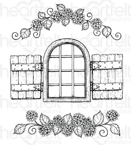 Cottage Window & Hydrangea Cling Stamp Set