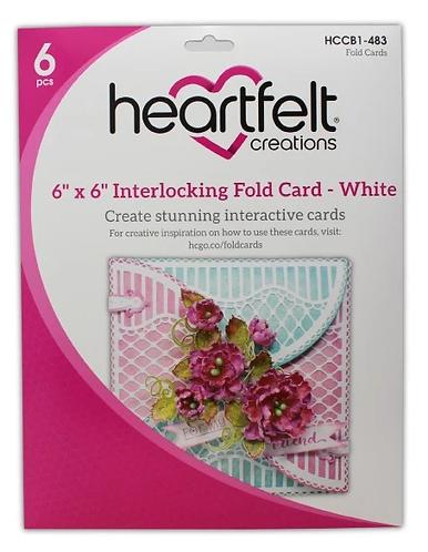 "Heartfelt - 6"" x 6"" Interlocking Fold Card - White"