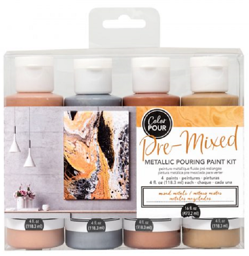 METALLIC POURING PAINT KIT – MIXED METALS