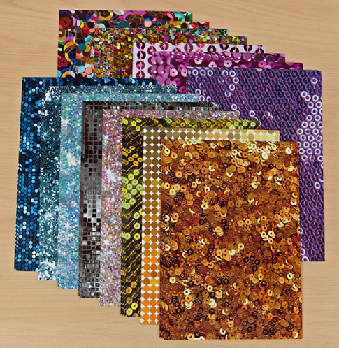 Sequin Patterned Cardstock - 15 sheets