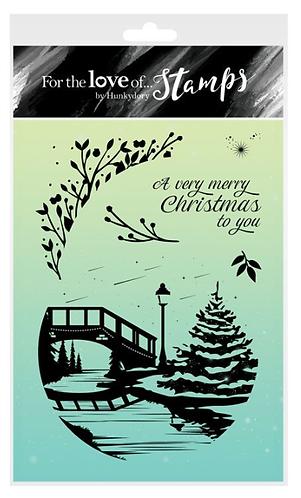 Snowy Sunset Silhouette - Riverside Christmas Tree