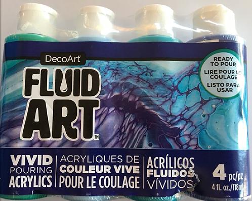 FluidArt Paint Pouring Value Pack 4/Pkg - Lagoon