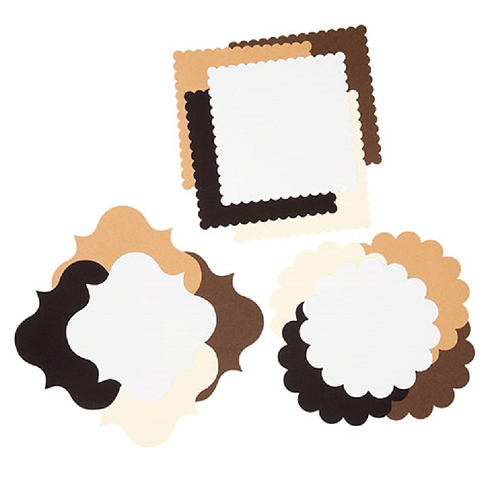 Core'dinations® Die Cut Cardstock Shapes - Neutral Colors - 60 pieces