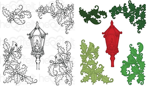 Festive Holly Collection - Festive Holly & Cardinals Die & Stamp Set