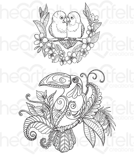 Tropical Paradise Collection - Tropical Parrots Cling Stamp Set