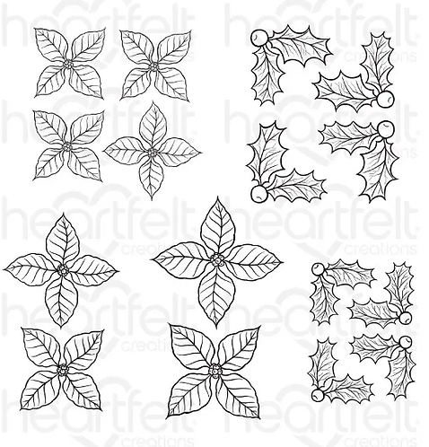 Candlelit Christmas Collection - Christmas Poinsettia & Holly Cling Stamp Set