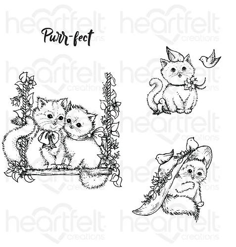 Purr-fect Posies Collection - Purr-fect Playdate Cling Stamp Set