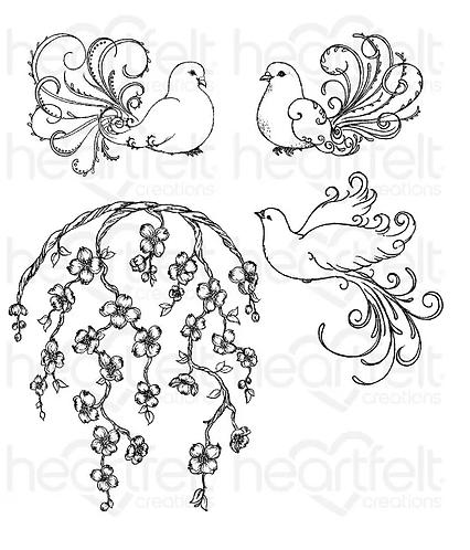 Flowering Dogwood & Doves Cling Stamp Set