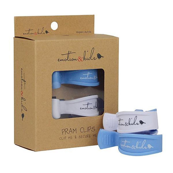 PRAM CLIPS - BLUE & WHITE PAIR