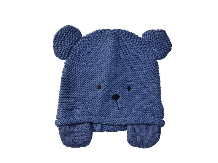NAVY TEDDY KNIT HAT