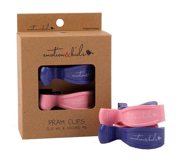 PRAM CLIPS - PINK & PURPLE PAIR