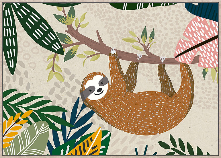 HANGABOUT SLOTH FRAMED CANVAS