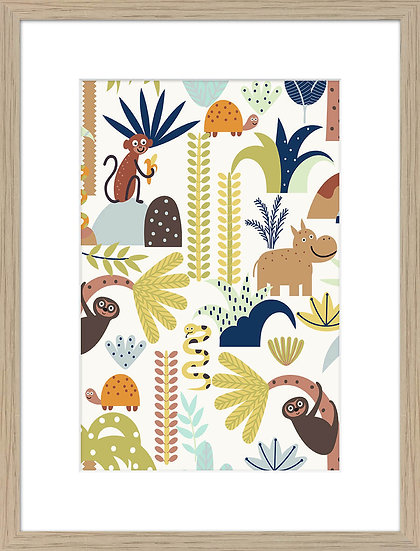 JUNGLE FUN FRAMED PRINT