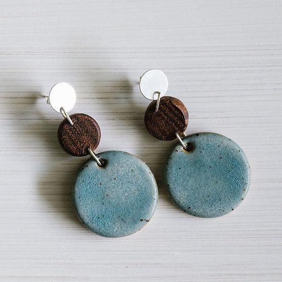 SHIMMER BLUE CIRCLE EARRINGS